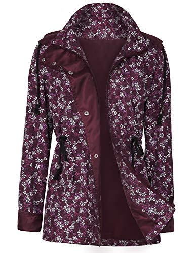 UUANG Raincoats Waterproof Active Outdoor Hooded Women's Trench Coats (Floral - Womens Floral Coat Trench
