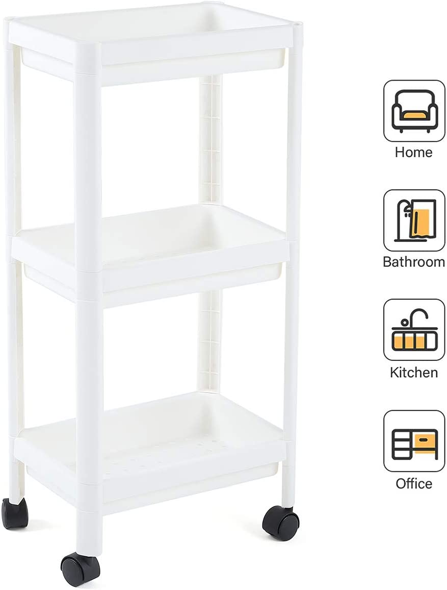 UNooMe Rolling Cart Bathroom Organizer - Kitchen Cart Shelving Storage Organizer 3 Tier Cart Utility Carts Perfect for Office Kitchen Bedroom Bathroom Laundry Room Dressers