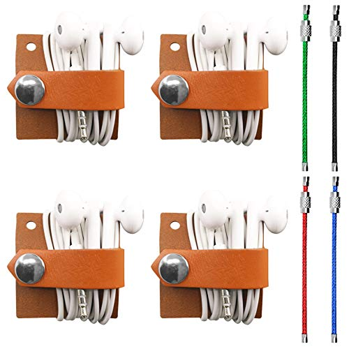 4 Packs of Earbud Holder, DaKuan Cord Organizer, Headset Headphone Earphone Wrap Winder, Cord Manager USB Cable Winder Earbud Bonus with 4PCS 4.3 Stainless Steel Wire Ring Cable Loops