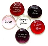 Romance Glass Stones, Messages of Love and Affection For Your Beloved. Set of 6 by Lifeforce Glass.