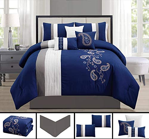 7-Piece Embroidered Floral Bed-in-a-Bag Comforter Set Gray//Blue Full//Double