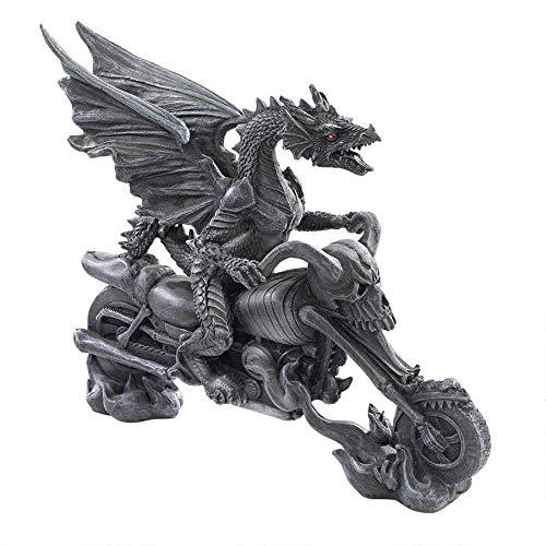 Design Toscano Biker Dragon on Skeleton Chopper Statue