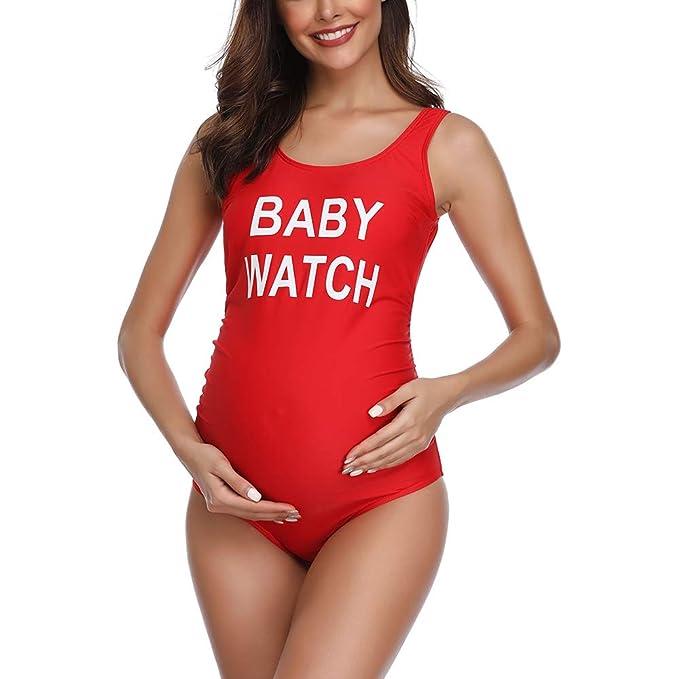 Traje de baño Mujer Maternidad Premamá Playa Espalda Abierta Color Sólido