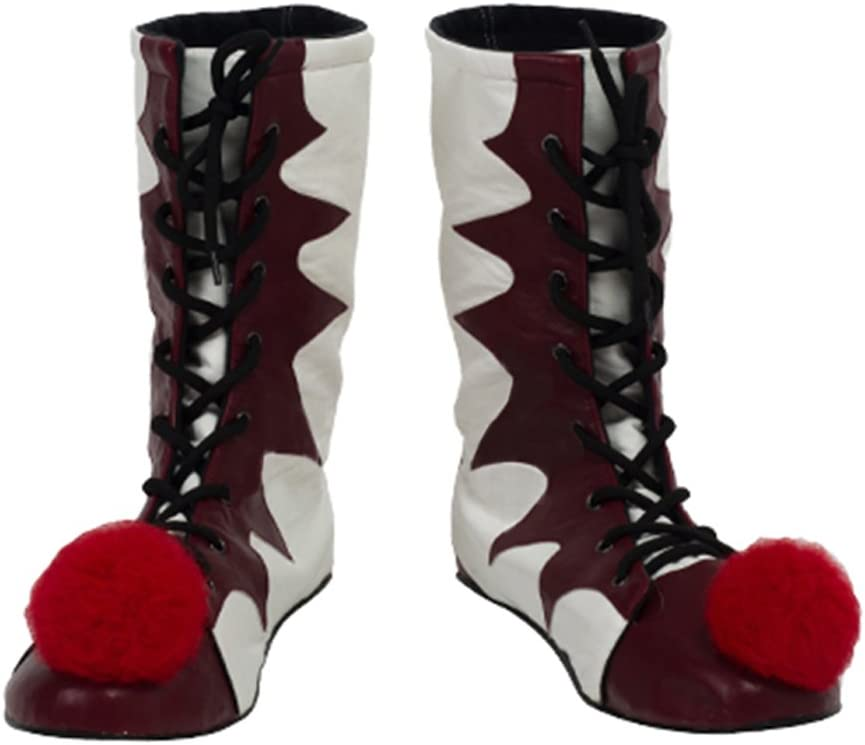 Mens New Red PU Leather Cosplay Boots