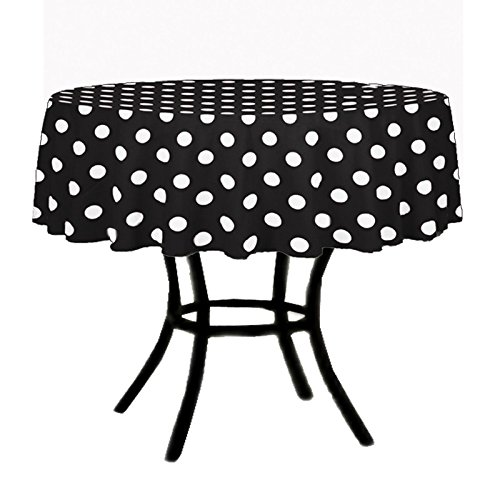BLACK & WHITE ROUND POLKA DOT DECORATION TABLECLOTH 54 INCH BY FLORIDA TABLECLOTH -