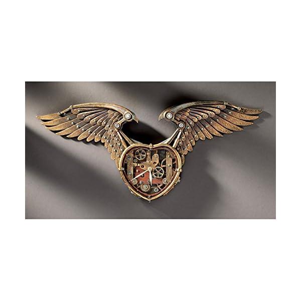 Design Toscano Steampunk Winged Heart Sculptural Wall Clock 4