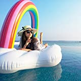 Giant Inflatable Pool Float Luxury Rainbow Cloud Pool Floating Lounge Bed Summer Outdoor Swimming Pool Party Inflatable Pool Raft for Adults & Children Size: 74.8 * 51.2 * 51.2 inch