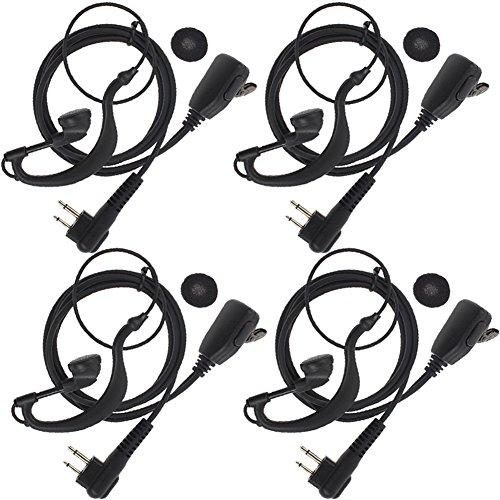(TENQ 2-pin G Shape Earpiece Headset for Motorola Radio CP88 CP040 CP100 CP110 CP125 CP140 CP150 CP160 CP180 CP200 CP250 CP300 (Pack of 4))