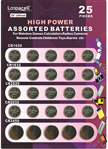Loopacell High Power Button Cell 3V Lithium Assorted Battery CR2032 CR2025 CR2450 CR1620 CR1632 Pack of 25 (Cr1620 Lithium Coin Cell Batteries)