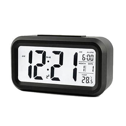 Stonges Led despertador luminoso silencioso reloj digital de gran pantalla inteligente reloj con temperatura (Negro