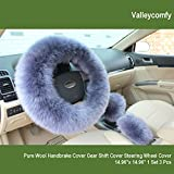 Automotive : Valleycomfy Fashion Steering Wheel Covers for Women/Girls/Ladies Australia Pure Wool 15 Inch 1 Set 3 Pcs, Dark Blue
