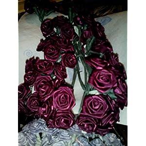 """Roses, Ribbon Roses, 1"""" Burgundy, Pack of 72 Flowers 88"""
