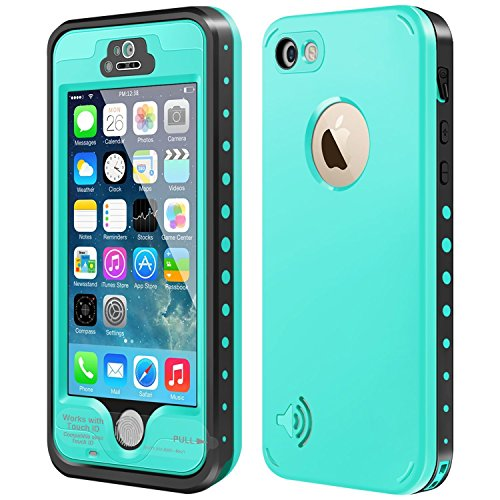 iPhone 5S/5/SE Waterproof Case,Mangix Underwater, Dust Proof,Shockproof Case with Touched Transparent Screen Protector,Protective Cover Case with 3.5mm AUX Cable for iPhone 5S/SE (Aqua)