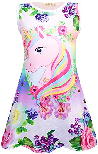 Girls Unicorn Nightgown Sleep Shirts Printed Star Rainbow Nightshirt Casual Nightie Princess Night Dresses (Purple Butterfly, Size 120 for 4-5Y)