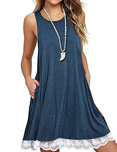 (Womens Summer Tunic Dress Lace Splicing Tank Dress Sleeveless T-Shirt Dresses with Pockets Blue S)