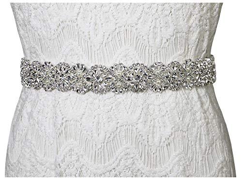 (Lovful Women's Ribbon Belt for Dress Crystal Diamond Bridal Sashes Belt,Ivory rhinestone wedding belts)