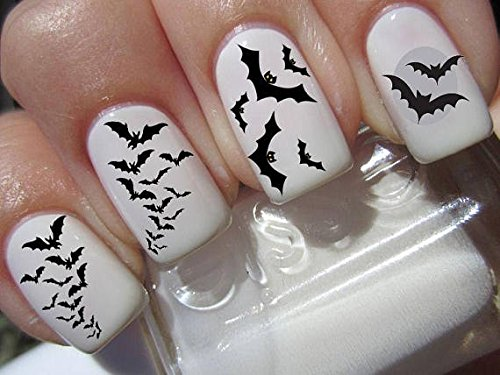 (Nail Decals x 20 Nail Art Set waterslide Nail Decals - Halloween Nail Stickers Graveyard Gothic Nail Art Design Set Assorted Bats)