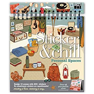 Craft Crush Sticker & Chill – Personal Spaces – Design 10 Scenes with 600+ Repositionable Stickers – A Fun Gift, Easy, and Relaxing Adult Activity Book