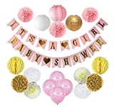 Ucity Baby Shower Decorations for Girl Baby Shower It's A Girl Garland Bunting Banner Tissue Paper Pom Poms Flowers Paper Lanterns Tissue Honeycomb Balls with 12'' IT's a Girl Balloons