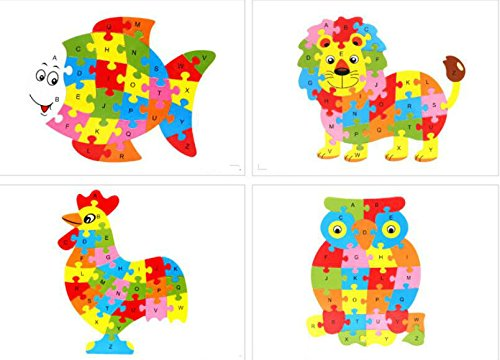 Tuersuer Ideal Gift Colorful Wooden Animal Number and Alphabet Jigsaw Puzzle Educational Toy for Kids(Owl)