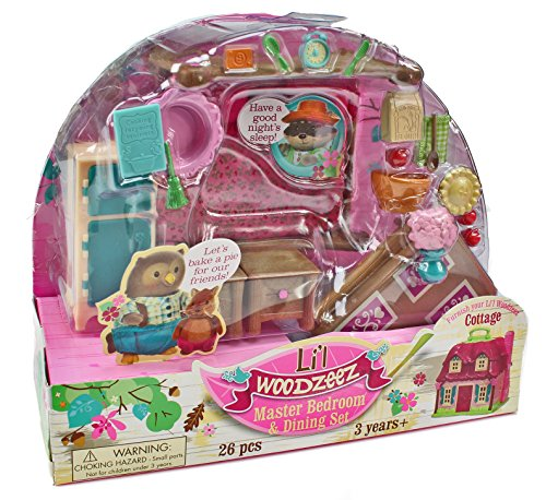 Lil Woodzeez Master Bedroom and Dining Set  Can Be Used With All Families and Environments  Ages 3+