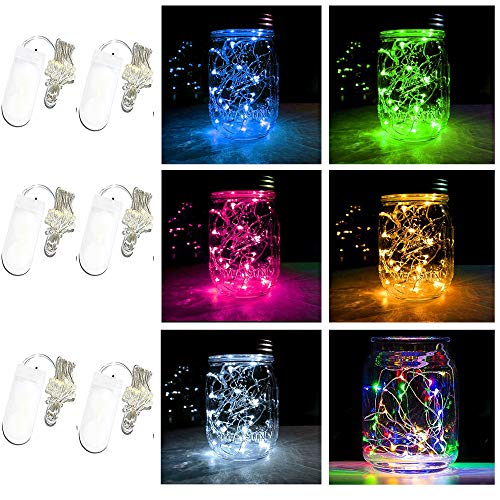 Battery Powered Mason Jar Lantern Lights,20 Led String Fairy Star Firefly Jar Lights,for Mason Jar Wine Bottle Home Patio Garden Wedding Christmas Moon Table Decor Lights (6 Colors)]()