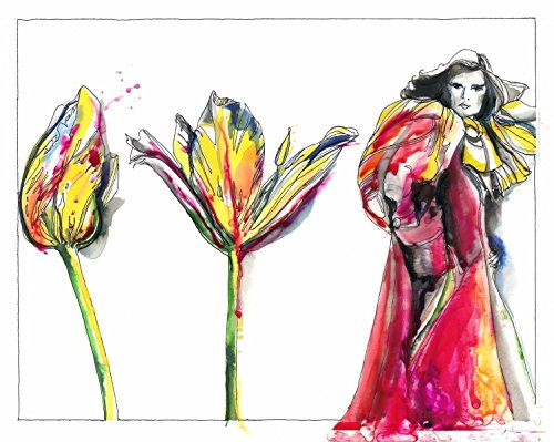 "Dior Coat - Tulip Coat Fashion Illustration 8"" x 10"" Wall Décor Fine Art Print of Elegant Watercolor Painting Tulip Red Dior inspired coat by Schuyler Rideout"