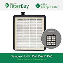 Dirt Devil F45 HEPA Replacement Filter, Part # 2KQ0107000. Designed by FilterBuy to fit Dirt Devil Vision Pet Canister Vac SD40000 & Dirt Devil EZ Lite Canister Vac SD40010