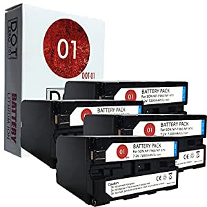 4x DOT-01 Brand 7200 mAh Replacement Sony NP-F960 Batteries for Sony HVR-Z1 Camcorder and Sony F960