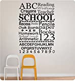 32'' School Teacher Collage Sayings ABC 123 Reading Crayons Writing Homework Chalk Boards Classroom Teach Kids Children Wall Decal Sticker Art Mural Home Décor Quote