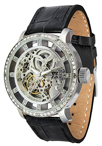 Moog Paris Chameleon Unisex Automatic Watch with Skeleton Dial, Black Genuine Leather Strap & Swarovski Elements - M44692-102