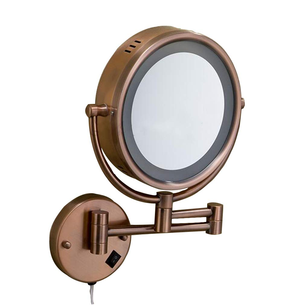 CUUYQ 化粧鏡LEDライト、両面 3倍拡大 けメイクミラー 360 °回転 壁掛け式 伸縮可能折り 化粧ミラー 9インチ,Bronze B07PRMJVXV Bronze