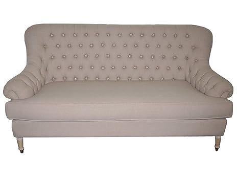 Francés Antiguo sofá sofá 3 plazas Vintage Retro Beige Tela ...