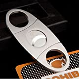 Silver Stainless Steel Pocket Cigar Cutter Knife Double Blades Scissors She ....