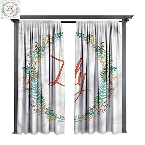 cobeDecor UV Protectant Indoor Outdoor Curtain Panel Lily Colorful Foliage Design for Lawn & Garden, Water & Wind Proof W84 ()