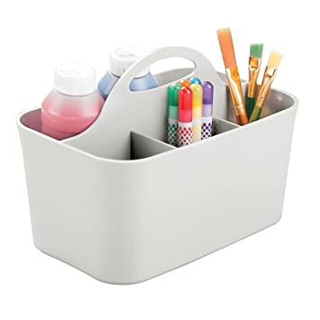 Mdesign 4 Compartment Desk Caddy Art Caddy With Handle For Pens
