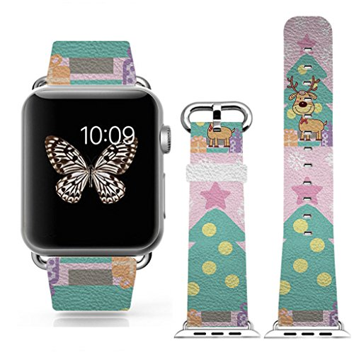 Apple Watch/Apple Watch 2 Band 42mm, Replacement Band Genuine Leather iWatch/iWatch 2 Strap With Silver Metal Clasp with Print of Cute Reindeer Pattern,CHRISTMAS GIFT
