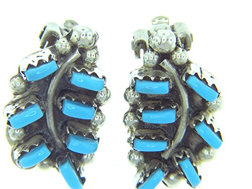 Turquoise Clip Earrings - MADE IN USA By Zuni Artist Vickie Johnson. Gorgeous Clip-ons Sterling silver synthetic Turquoise Leaf Earring