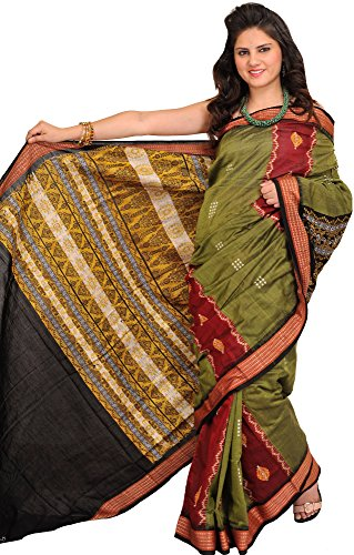(Exotic India Capulet-Olive and Red Bomkai Sari from Orissa with Woven Ru - Green)