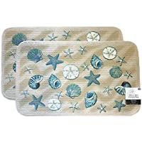 Mainstays Coastal Starfish Seashell Kitchen Rug, Door Mat, Set of 2