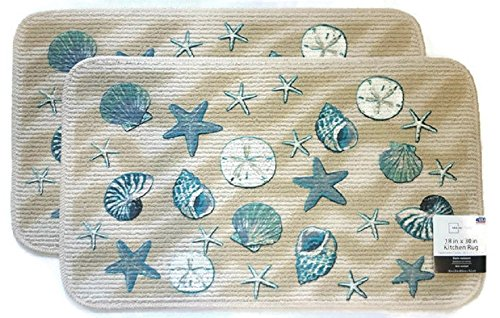Mainstay Coastal Starfish Seashell Kitchen Rug, Door Mat, Set of -