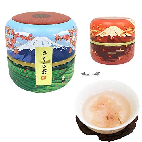(Japanese tin FUJI-YAMA container Sakura cha Cherry Blossam tea)