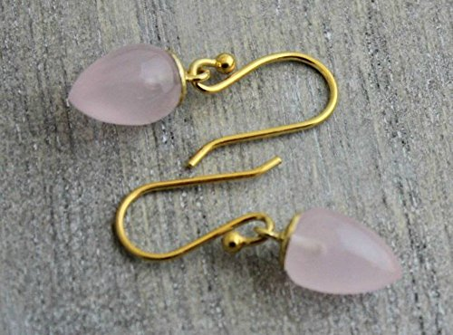 Acorn Drop Earrings (Pink Chalcedony Drop Gold Plated Sterling Silver Earrings Earwires)