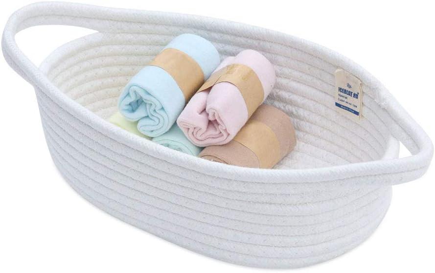 ICEBLUE HD White Mini Storage Basket 100% Natural Cotton Rope Storage Boxes Toy Bins Childrens Room Decor