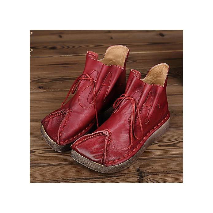 39 Stivaletti In colore Pelle Stringati A Dimensione Rosso Mano Da Eu Donna Cuciti Gaslinyuan