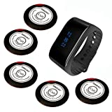 SINGCALL Wireless Calling System, Wireless Waiter Service System, Waterproof Watch Receiver, For Bank Restaurant Cafe Restaurant Hotel Bar Hospital Factory Office, 5 Buttons and 1 Watch