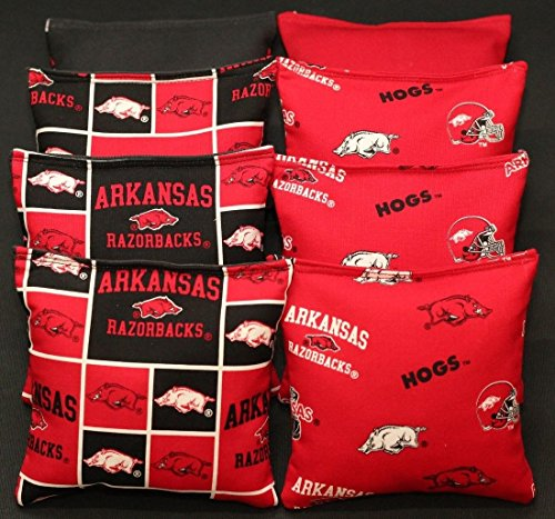 BackYardGamesUSA 8 Cornhole BEANBAGS Made w University of Arkansas Razorbacks Fabric ACA Reg Bags ()