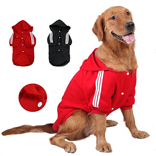 GabeFish Large Dogs Plain Button Hoodie Fleece Pets Hooded Jacket Coats For Golden Labrador Retriever Pitbull Red 5X-Large For Sale