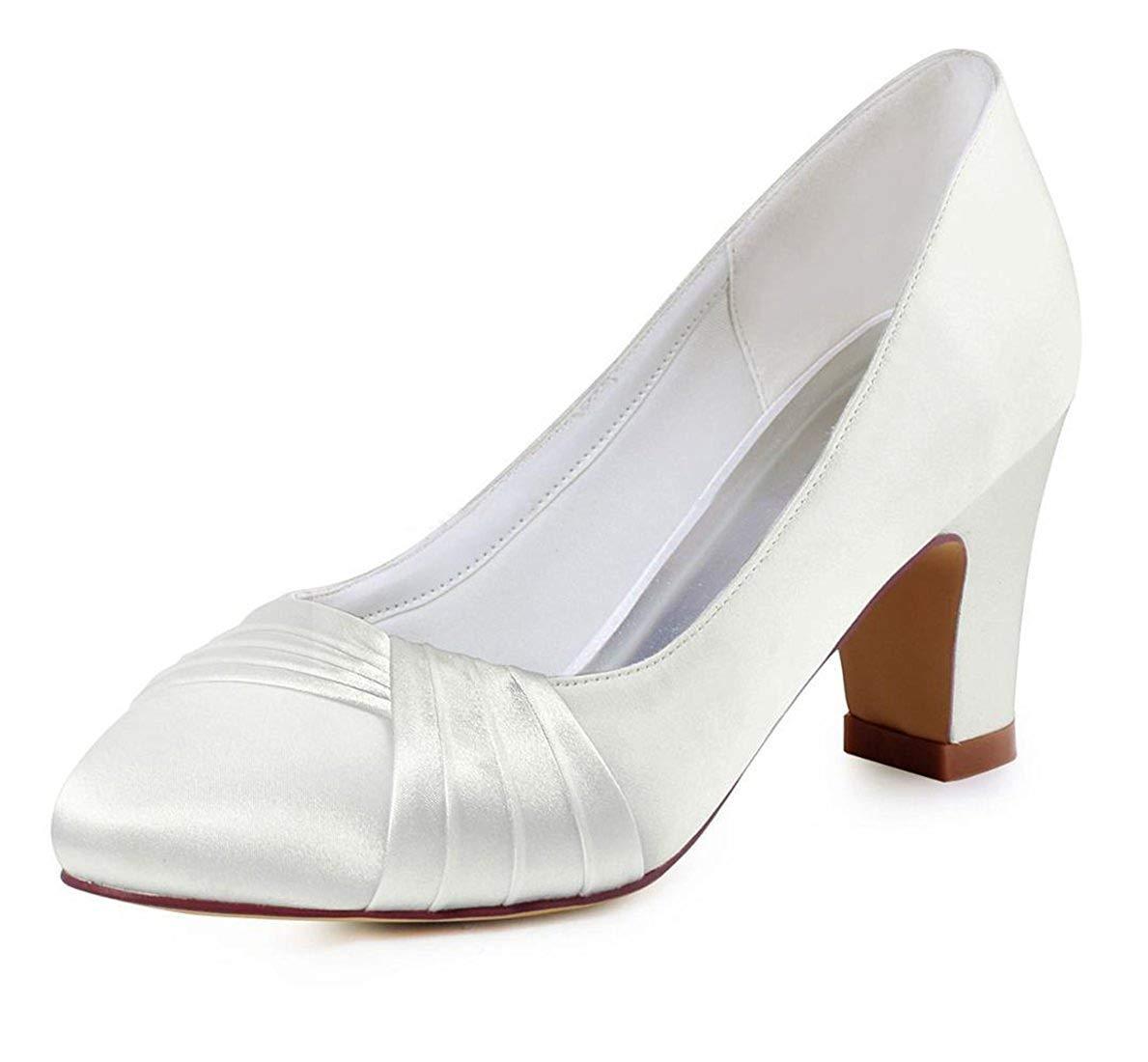HhGold Damen Knoten Chunky Med Ferse Slip-on Weiß Satin Hochzeit Abend Pumps UK 5 (Farbe   -, Größe   -)