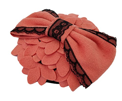 Ahugehome Fascinator Hair Clip Headband Pillbox Hat Bow Flower Wool Vintage Party (M Dark Pink) by Ahugehome